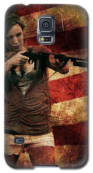 M1 Carbine On American Flag Galaxy S5 Case
