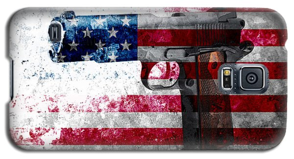 M1911 Colt 45 And American Flag On Distressed Metal Sheet Galaxy S5 Case