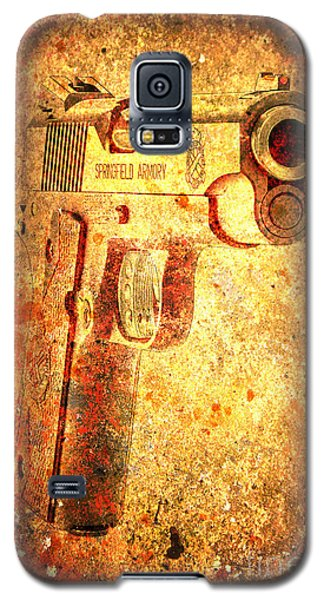M1911 Muzzle On Rusted Background 3/4 View Galaxy S5 Case