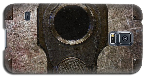 M1911 Muzzle On Rusted Riveted Metal Dark Galaxy S5 Case