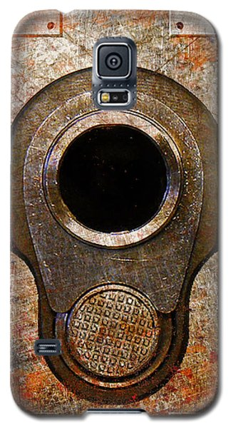 M1911 Muzzle On Rusted Riveted Metal Galaxy S5 Case