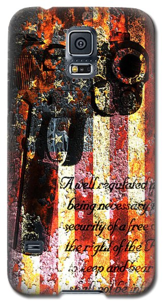 M1911 Pistol And Second Amendment On Rusted American Flag Galaxy S5 Case