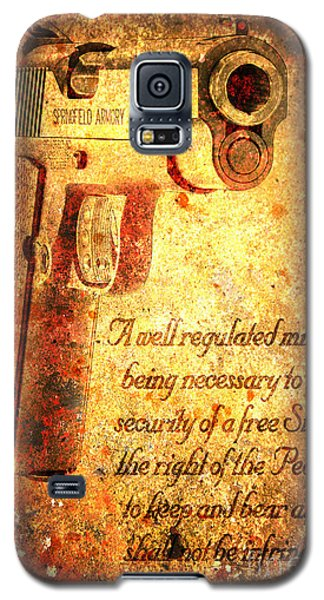 M1911 Pistol And Second Amendment On Rusted Overlay Galaxy S5 Case