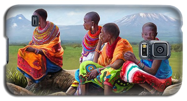Galaxy S5 Case featuring the painting Maasai Women by Anthony Mwangi