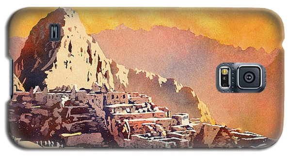 Galaxy S5 Case featuring the painting Machu Picchu Sunset by Ryan Fox