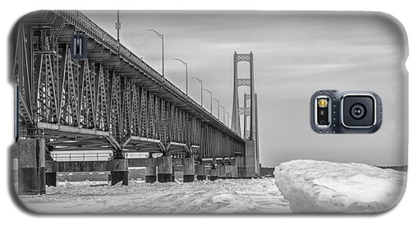 Galaxy S5 Case featuring the photograph Mackinac Bridge Icy Black And White  by John McGraw