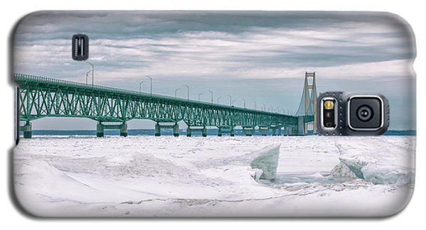 Galaxy S5 Case featuring the photograph Mackinac Bridge In Winter During Day by John McGraw