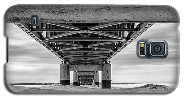 Galaxy S5 Case featuring the photograph Mackinac Bridge In Winter Underneath  by John McGraw