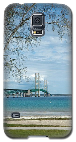 Galaxy S5 Case featuring the photograph Mackinac Bridge Park by LeeAnn McLaneGoetz McLaneGoetzStudioLLCcom