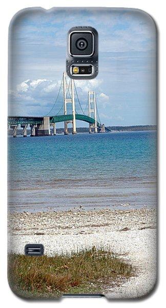 Galaxy S5 Case featuring the photograph Mackinac Bridge Path To Lake by LeeAnn McLaneGoetz McLaneGoetzStudioLLCcom