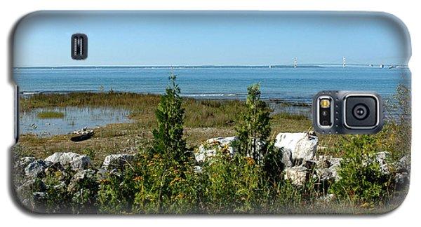 Galaxy S5 Case featuring the photograph Mackinac Island View Of Bridge by LeeAnn McLaneGoetz McLaneGoetzStudioLLCcom