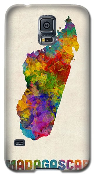 Galaxy S5 Case featuring the digital art Madagascar Watercolor Map by Michael Tompsett