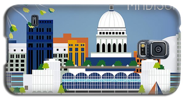 Madison Wisconsin Horizontal Skyline Galaxy S5 Case by Karen Young