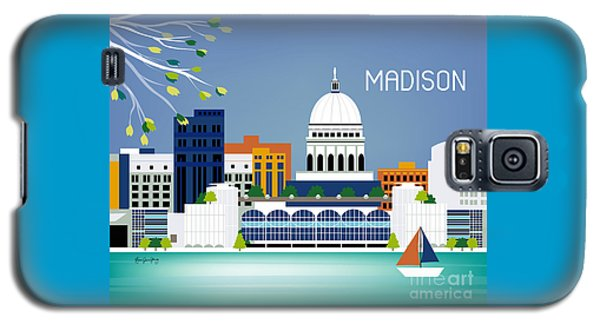 Capitol Building Galaxy S5 Case - Madison Wisconsin Horizontal Skyline by Karen Young
