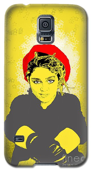 Galaxy S5 Case featuring the drawing Madonna On Yellow by Jason Tricktop Matthews