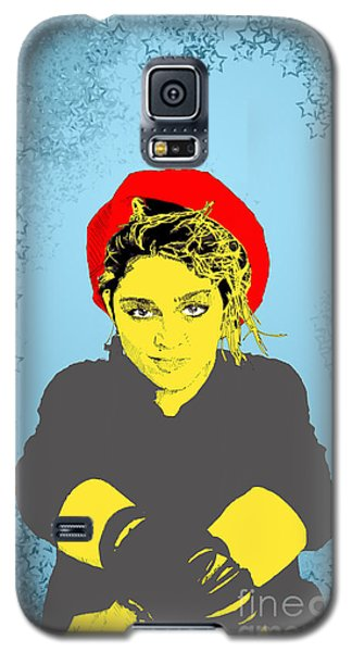 Galaxy S5 Case featuring the drawing Madonna On Blue by Jason Tricktop Matthews
