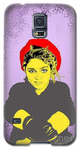 Galaxy S5 Case featuring the drawing Madonna On Purple by Jason Tricktop Matthews