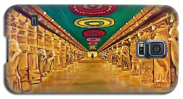 Galaxy S5 Case featuring the painting Madurai Meenakshi Temple Mandapam by Brindha Naveen