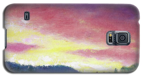 Galaxy S5 Case featuring the painting Magenta Sunset Oil Landscape by Judith Cheng