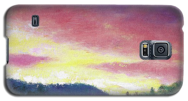 Magenta Sunset Oil Landscape Galaxy S5 Case by Judith Cheng