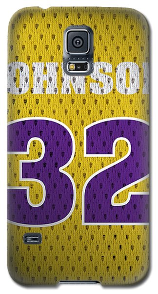 Magic Johnson Los Angeles Lakers Number 32 Retro Vintage Jersey Closeup Graphic Design Galaxy S5 Case by Design Turnpike