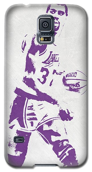 Magic Johnson Los Angeles Lakers Pixel Art Galaxy S5 Case by Joe Hamilton