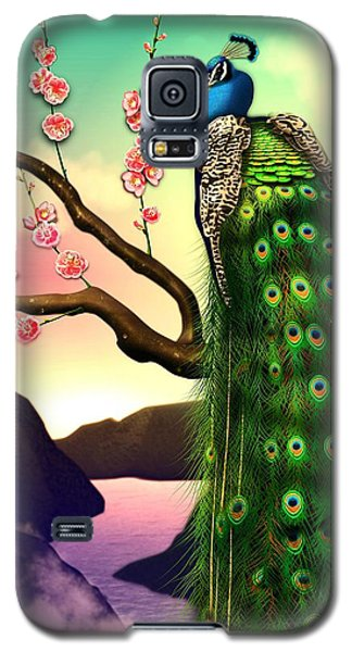 Magnificent Peacock On Plum Tree In Blossom Galaxy S5 Case by John Wills