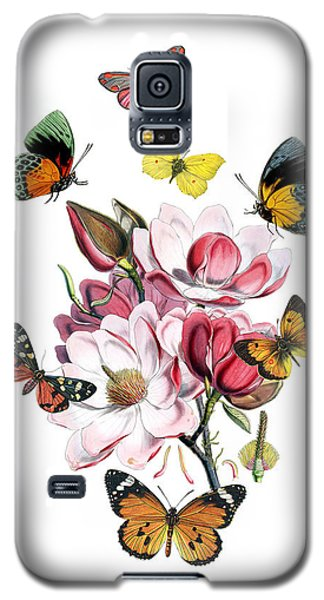 Saucer Magnolia Galaxy S5 Case - Magnolia With Butterflies by Madame Memento