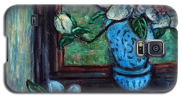 Magnolias In A Blue Vase By The Window Galaxy S5 Case