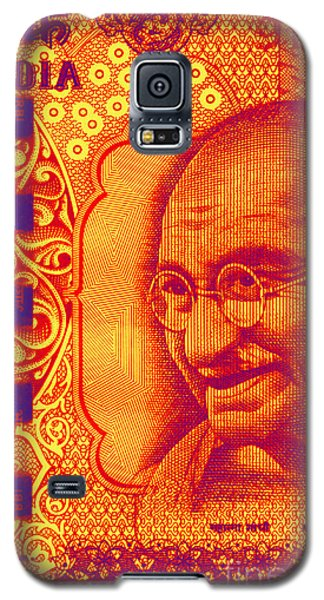 Galaxy S5 Case featuring the digital art Mahatma Gandhi 500 Rupees Banknote by Jean luc Comperat
