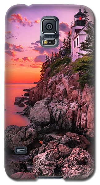 Galaxy S5 Case featuring the photograph Maine Bass Harbor Lighthouse Sunset by Ranjay Mitra