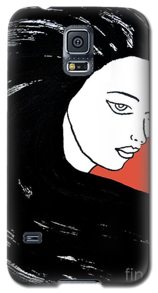 Majestic Lady J0715j Tangerine Tango Orange Pastel Painting 17-1463  E1523d F0532a Galaxy S5 Case