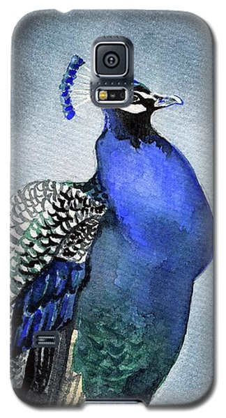 Galaxy S5 Case featuring the painting Majestic Peacock by Dora Hathazi Mendes