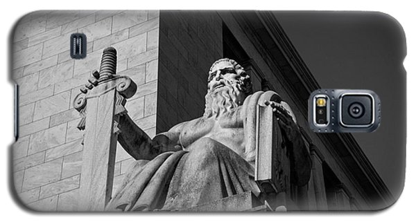 Galaxy S5 Case featuring the photograph Majesty Of Law In Black And White by Chrystal Mimbs