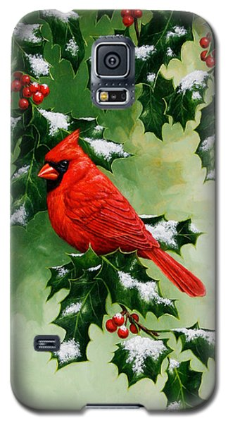 Male Cardinal And Holly Phone Case Galaxy S5 Case by Crista Forest