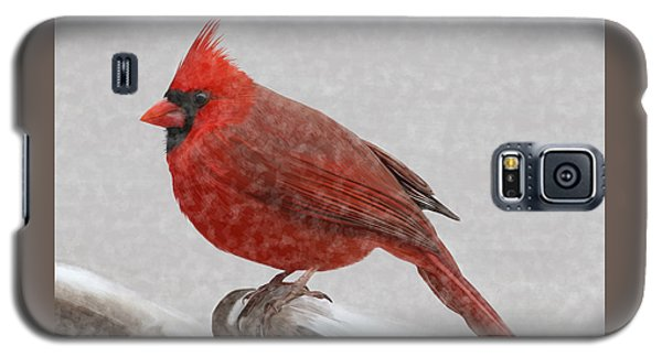 Galaxy S5 Case featuring the painting Male Cardinal In Snow by Rand Herron
