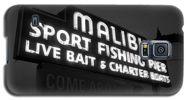 Malibu Pier Sign In Bw Galaxy S5 Case by Glenn McCarthy Art and Photography