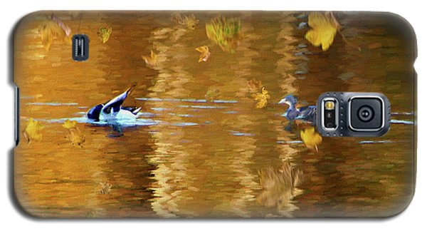 Galaxy S5 Case featuring the painting Mallard Ducks On Magnolia Pond - Painted by Ericamaxine Price
