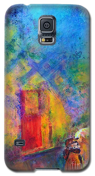 Galaxy S5 Case featuring the painting Man And Horse On A Journey by Claire Bull