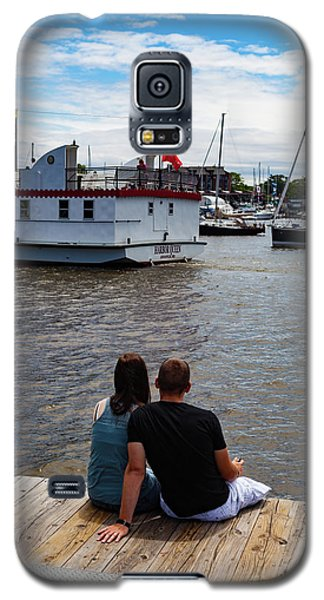 Man And Woman Sitting On Dock Galaxy S5 Case