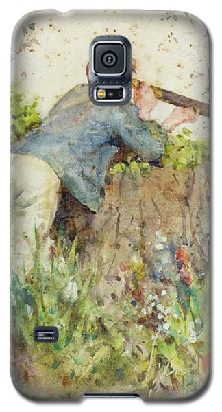 Galaxy S5 Case featuring the painting Man Looking Through A Telescope by Henry Scott Tuke