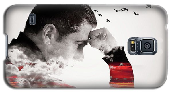 Man Thinking Double Exposure With Birds Galaxy S5 Case