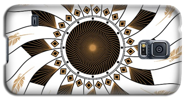 Galaxy S5 Case featuring the digital art Mandala Black And Gold by Linda Lees