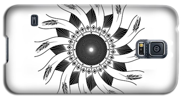 Galaxy S5 Case featuring the digital art Mandala Black And White by Linda Lees