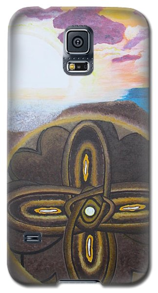 Galaxy S5 Case featuring the painting Mandala In The Sand by Cheryl Bailey