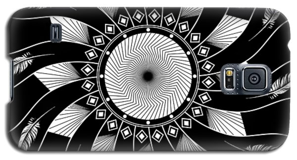 Galaxy S5 Case featuring the digital art Mandala White And Black by Linda Lees