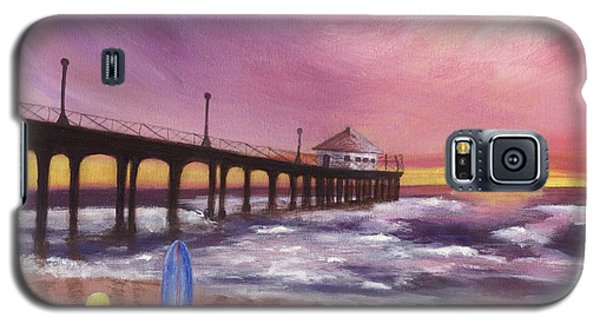 Galaxy S5 Case featuring the painting Manhattan Beach Pier by Jamie Frier