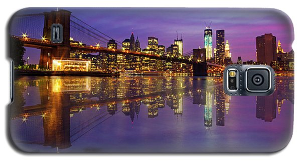 Galaxy S5 Case featuring the photograph Manhattan Reflection by Mircea Costina Photography