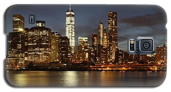 Galaxy S5 Case featuring the photograph Manhattan Skyline At Night - Panorama by Nathan Rupert