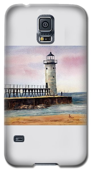 Galaxy S5 Case featuring the painting Manistee North Pierhead Light by Brenda Thour